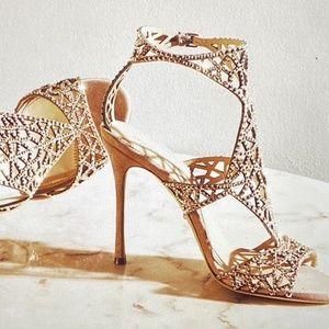 Sergio Rossi Brown Trevor Crystal Grommet Sandal